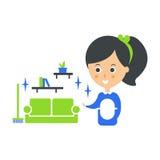 Ejemplo de Cleanup Service Maid And Clean Living Room, Cleaning Company Infographic Foto de archivo libre de regalías
