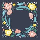 Ejemplo de color con las flores Marco floral, mano dibujada, disposición plana Flor decorativo Flores, ejemplo de la historieta d stock de ilustración