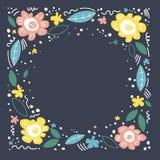 Ejemplo de color con las flores Marco floral, mano dibujada, disposici?n plana Flor decorativo Flores, ejemplo de la historieta d libre illustration