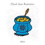 Ejemplo de color de dibujo de la mano de la sopa Fotografía de archivo libre de regalías