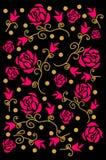 Ejemplo de color de la decoración de rosas en vector Tarjeta y ropa de felicitación Foto de archivo