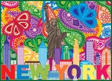 Ejemplo de color del modelo de Paisley del texto del horizonte de Nueva York stock de ilustración