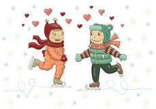 Ejemplo de color del vector de una muchacha y de un muchacho que patinan en el hielo El día de tarjeta del día de San Valentín, l ilustración del vector