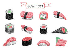 Ejemplo de color dibujado mano del sushi y de los rollos Foto de archivo