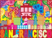Ejemplo de color de San Francisco Skyline Trolley Paisley Pattern ilustración del vector