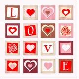 Ejemplo de corazones y del AMOR decorativos de las cartas Imagen de archivo