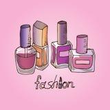 Ejemplo de cosméticos Esmaltes de uñas Moda ilustración del vector