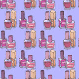 Ejemplo de cosméticos Moda de los esmaltes de uñas Modelo inconsútil ilustración del vector