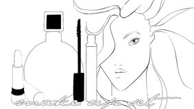 Ejemplo de cosméticos y de productos de belleza Imagen de archivo libre de regalías