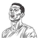 Ejemplo de Cristiano Ronaldo Vector Portrait Drawing Line Turín, el 27 de agosto de 2018 stock de ilustración