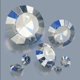 Ejemplo de diamantes de lujo en fondos azules Cristales brillantes 3d rinden ilustración del vector