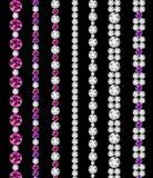 Ejemplo de Diamond Realistic Borders Set Vector Fotos de archivo libres de regalías