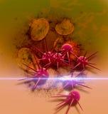 Ejemplo de Digitaces 3d de células cancerosas en cuerpo humano Foto de archivo libre de regalías