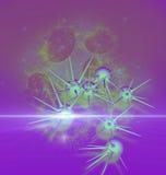 Ejemplo de Digitaces 3d de células cancerosas en cuerpo humano Imagen de archivo