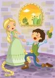 Rapunzel y príncipe stock de ilustración