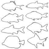 Ejemplo de diversas pequeñas siluetas de los pescados Fotos de archivo libres de regalías