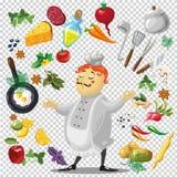 Ejemplo de diversos utensilios y verduras Imagen de archivo libre de regalías
