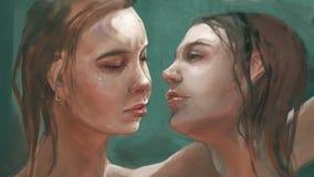 Ejemplo de dos hermanas gemelas ilustración del vector