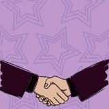 Ejemplo de dos hombres de negocios que sacuden las manos firmemente como forma del gesto de acuerdo del saludo, el dar la bienven ilustración del vector