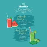 Ejemplo de dos recetas sanas del smoothie - eps8 Imagen de archivo libre de regalías