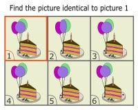 Ejemplo de encontrar dos mismas imágenes Juego educativo para los niños Imágenes idénticas para los niños Torta de la historieta libre illustration