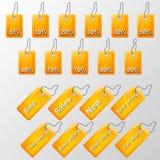 Ejemplo de etiquetas anaranjadas con ofertas Fotografía de archivo libre de regalías