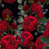 Ejemplo de flores, de bayas y del eucalipto rojos Modelo inconsútil de rosas y de hierbas en fondo negro libre illustration