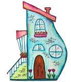 Ejemplo de hadas lindo de la acuarela de la casa El ejemplo pintado a mano se puede utilizar para el diseño lindo de la impresión stock de ilustración