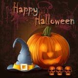 Ejemplo de Halloween con la calabaza, cráneo, casquillo stock de ilustración