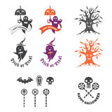 Ejemplo de Halloween con los elementos del logotipo Foto de archivo