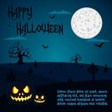 Ejemplo de Halloween de calabazas en el cementerio bajo noche de la Luna Llena con placeholders del texto Imágenes de archivo libres de regalías
