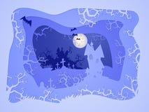 Ejemplo de Halloween del vector con el castillo y el sepulcro stylization acodado 3d Fotos de archivo libres de regalías