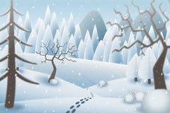 Ejemplo de huellas en un paisaje nevoso romántico Fotografía de archivo libre de regalías
