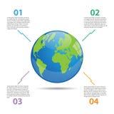 Ejemplo de Infographics del globo del mundo Fotos de archivo