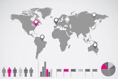 Ejemplo de Infographics del mapa del mundo Foto de archivo libre de regalías
