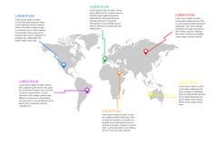 Ejemplo de Infographics del mapa del mundo Imagen de archivo libre de regalías