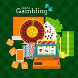 Ejemplo de juego en línea del vector Máquina tragaperras, ruleta, mesa, teléfono, pilas de dinero, fichas de póker y cubos de los Imágenes de archivo libres de regalías
