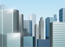 Ejemplo de la acción del vector del paisaje urbano de la salida del sol Fotos de archivo