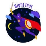 Ejemplo de la actividad de noche del superhéroe libre illustration