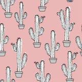 Ejemplo de la acuarela - cactus en un pote ilustración del vector