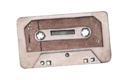 Ejemplo de la acuarela de la cinta de casete audio aislado en backgraound del wahite imagen de archivo