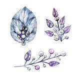 Ejemplo de la acuarela con el bijouterie, joyería de plata Cristales, perlas, plumas Puede ser utilizado para la tarjeta, postal stock de ilustración