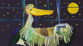 Ejemplo de la acuarela con el pelícano y los pescados ilustración del vector