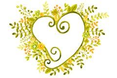 Ejemplo de la acuarela con los marcos de la imagen de las flores, ramitas y hojas, verde y naranja, para el diseño de banderas, c ilustración del vector