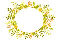 Ejemplo de la acuarela con los marcos de la imagen de las flores, ramitas y hojas, verde y naranja, para el dise?o de banderas, c ilustración del vector