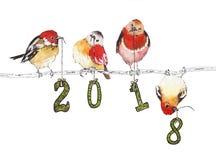 Ejemplo de la acuarela con los pájaros por el Año Nuevo 2018 Imágenes de archivo libres de regalías
