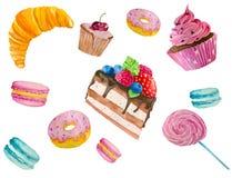 Ejemplo de la acuarela de dulces Fotos de archivo libres de regalías