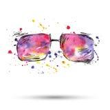 Ejemplo de la acuarela de gafas de sol en un fondo blanco Imagen de archivo libre de regalías