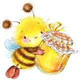 Ejemplo de la acuarela de la abeja del insecto de la historieta I Foto de archivo