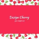 Ejemplo de la acuarela de la cereza, frontera de la baya del vector Diseño de la fruta, marco dibujado mano en el fondo rojo para stock de ilustración